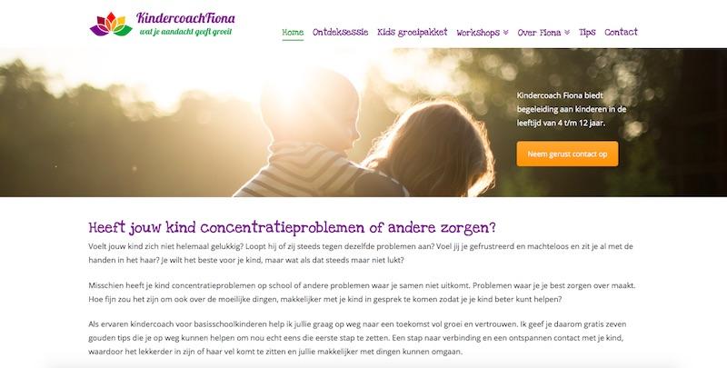 Een WordPress site - www.kindercoachfiona.nl