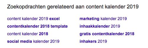 Zoektermen vinden voor website optimalisatie - voorbeeld contentkalender 2019